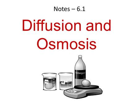 Notes – 6.1 Diffusion and Osmosis. 6.1 The Structure and Function of the Cell Membrane The cell membrane has many functions. – protection – obtaining.
