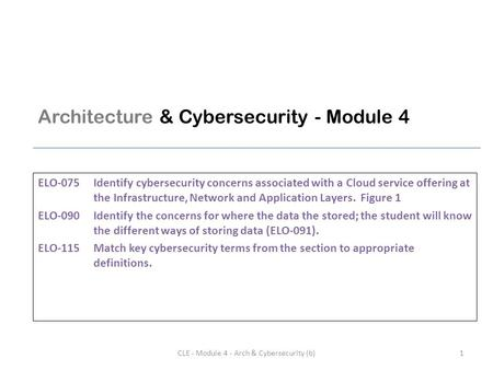 Architecture & Cybersecurity - Module 4 ELO-075Identify cybersecurity concerns associated with a <strong>Cloud</strong> service offering at the Infrastructure, Network.