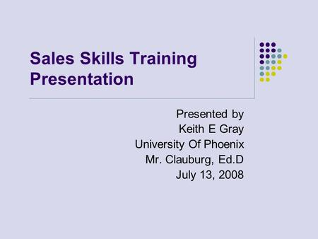 Sales Skills Training Presentation