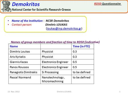 13 Nov. 20131Dimitris LOUKAS Name of the Institution : NCSR Demokritos Contact person: Dimitris LOUKAS