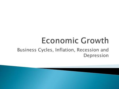 Business Cycles, Inflation, Recession and Depression.