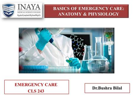 BASICS OF EMERGENCY CARE: <strong>ANATOMY</strong> & <strong>PHYSIOLOGY</strong> EMERGENCY CARE CLS 243 Dr.Bushra Bilal.