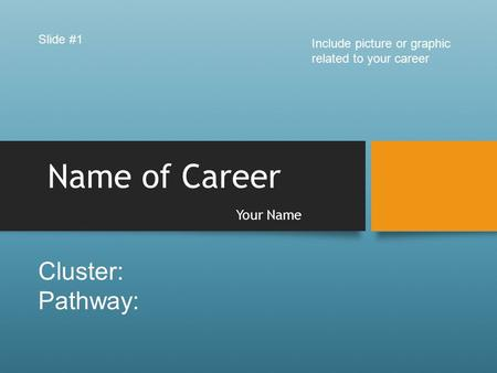 Name of Career Your Name Slide #1 Include picture or graphic related to your career Cluster: Pathway: