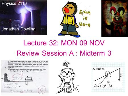 Lecture 32: MON 09 NOV Review Session A : Midterm 3 Physics 2113 Jonathan Dowling.