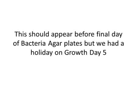 This should appear before final day of Bacteria Agar plates but we had a holiday on Growth Day 5.
