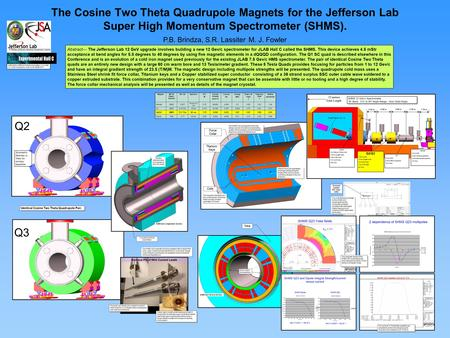 The Cosine Two Theta Quadrupole Magnets for the Jefferson Lab Super High Momentum Spectrometer (SHMS). P.B. Brindza, S.R. Lassiter M. J. Fowler Abstract—