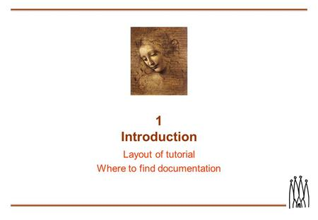 1 Introduction Layout of tutorial Where to find documentation.