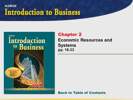 Back to Table of Contents pp. 18-33 Chapter 2 Economic Resources and Systems.
