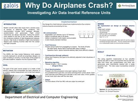 Why Do Airplanes Crash? Investigating Air Data Inertial Reference Units Department of Electrical and Computer Engineering INTRODUCTION Modern aircraft.