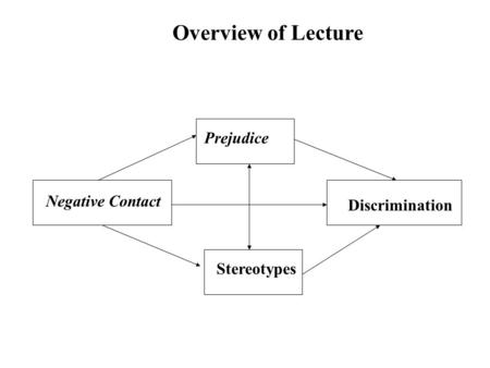 Negative Contact Stereotypes Prejudice Discrimination Overview of Lecture.