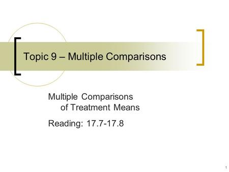 1 Topic 9 – Multiple Comparisons Multiple Comparisons of Treatment Means Reading: 17.7-17.8.