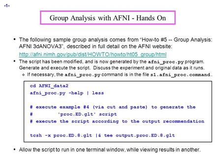 Group Analysis With Afni  Hands On The Following Sample Group