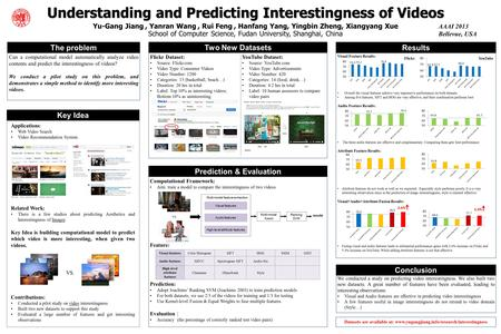 Understanding and Predicting Interestingness of Videos Yu-Gang Jiang, Yanran Wang, Rui Feng, Hanfang Yang, Yingbin Zheng, Xiangyang Xue School of Computer.