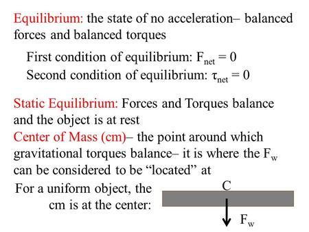 First condition of equilibrium: Fnet = 0