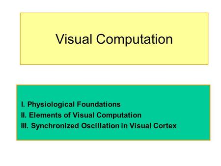 Visual Computation I. Physiological Foundations