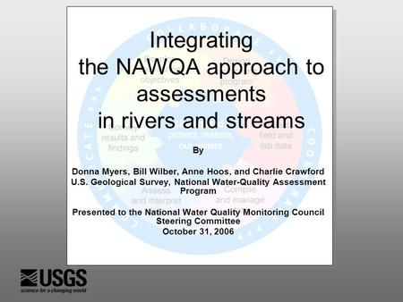 Integrating the NAWQA approach to assessments in rivers and streams By Donna Myers, Bill Wilber, Anne Hoos, and Charlie Crawford U.S. Geological Survey,