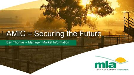 AMIC – Securing the Future Ben Thomas – Manager, Market Information.