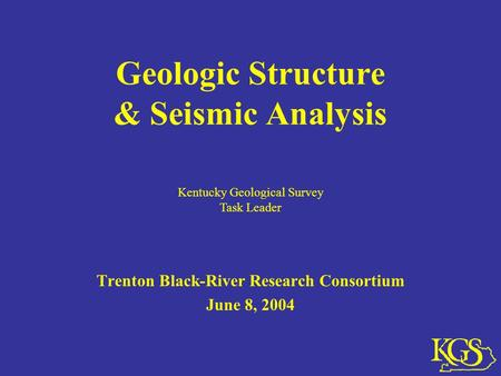 Geologic Structure & Seismic Analysis Trenton Black-River Research Consortium June 8, 2004 Kentucky Geological Survey Task Leader.