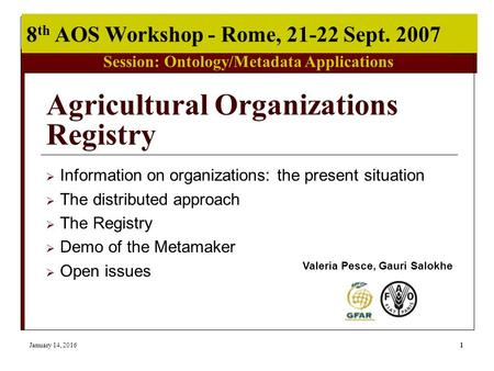 Session: Ontology/Metadata Applications 8 th AOS Workshop - Rome, 21-22 Sept. 2007 January 14, 20161 Agricultural Organizations Registry  Information.