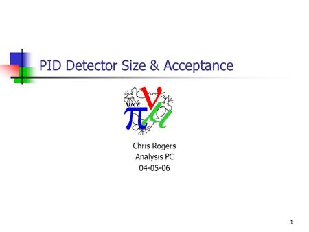 1 PID Detector Size & Acceptance Chris Rogers Analysis PC 04-05-06.