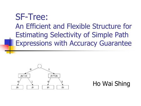 SF-Tree: An Efficient and Flexible Structure for Estimating Selectivity of Simple Path Expressions with Accuracy Guarantee Ho Wai Shing.