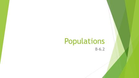 Populations B-6.2. Populations Population is a group of organisms belonging to the same species that live in a particular area. Populations can be described.