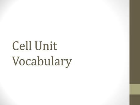 Cell Unit Vocabulary. Vocab Rules For each vocab word you need three things One- Write the word Two- Write the definition Three- Draw an example of the.