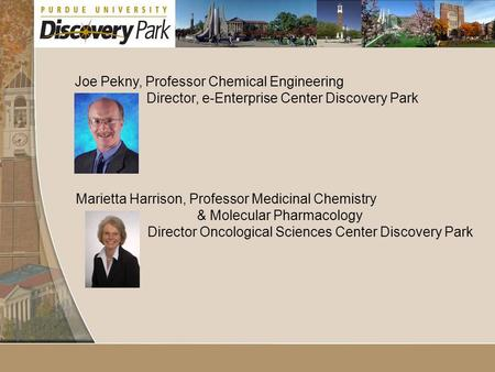 Joe Pekny, Professor Chemical Engineering Director, e-Enterprise Center Discovery Park Marietta Harrison, Professor Medicinal Chemistry & Molecular Pharmacology.