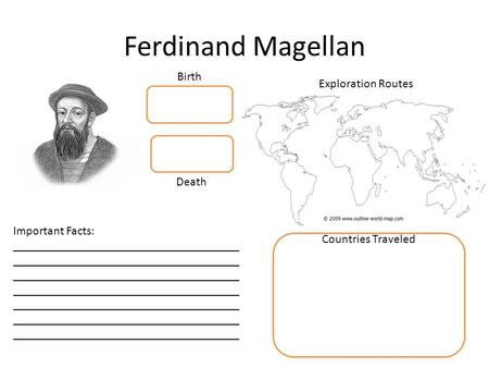 Ferdinand Magellan Exploration Routes Countries Traveled Birth Death Important Facts: _____________________________________ _____________________________________.