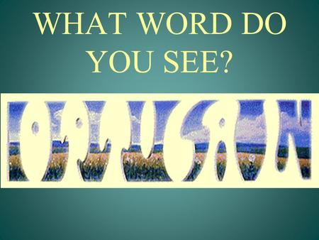 WHAT WORD DO YOU SEE?. OPTICAL ILLUSION Do you see two old people or two young people? What do you see in the middle of the picture?