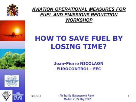14/01/20161 Air Traffic Management Panel Madrid 21-22 May 2002 AVIATION OPERATIONAL MEASURES FOR FUEL AND EMISSIONS REDUCTION WORKSHOP HOW TO SAVE FUEL.