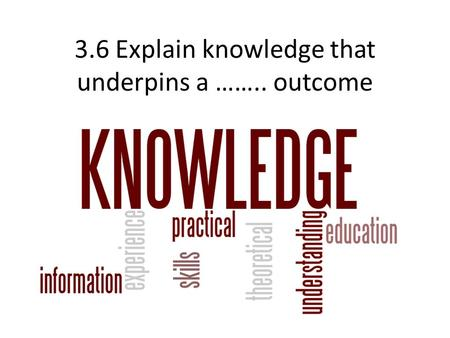 3.6 Explain knowledge that underpins a …….. outcome.