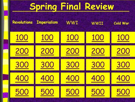 Spring Final Review RevolutionsImperialism WWI 100 200 300 400 500 100 200 300 400 500 100 200 300 400 500 100 200 300 400 500 100 200 300 400 500 Cold.