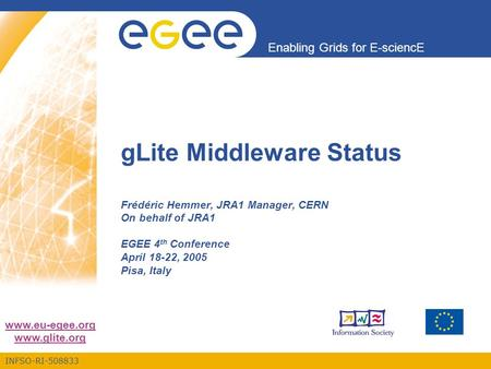 INFSO-RI-508833 Enabling Grids for E-sciencE www.eu-egee.org www.glite.org gLite Middleware Status Frédéric Hemmer, JRA1 Manager, CERN On behalf of JRA1.