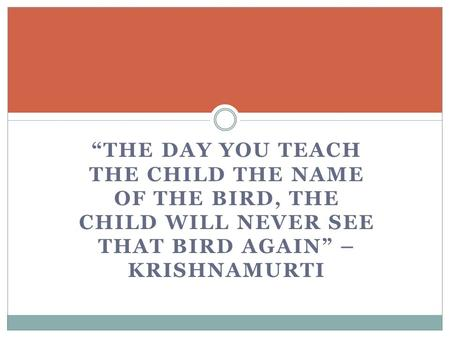 """THE DAY YOU TEACH THE CHILD THE NAME OF THE BIRD, THE CHILD WILL NEVER SEE THAT BIRD AGAIN"" – KRISHNAMURTI."