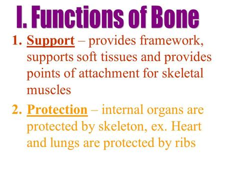 1.Support – provides framework, supports soft tissues and provides points of attachment for skeletal muscles 2.Protection – internal organs are protected.