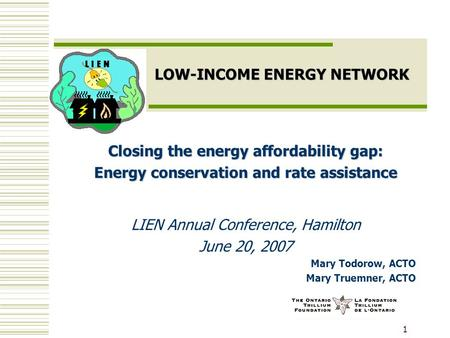 1 LOW-INCOME ENERGY NETWORK Closing the energy affordability gap: Energy conservation and rate assistance LIEN Annual Conference, Hamilton June 20, 2007.