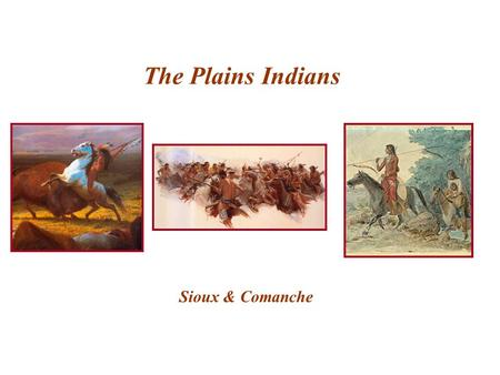 The Plains Indians Sioux & Comanche.