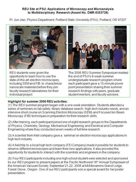 The 2006 REU Summer Symposium marked the end of PSU's 8-week summer undergraduate research program where each participant gave a 15-minute power point.