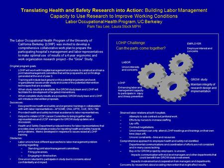 Translating Health and Safety Research into Action: Building Labor Management Capacity to Use Research to Improve Working Conditions Labor Occupational.