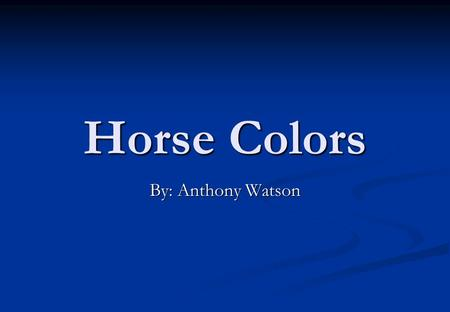 Horse Colors By: Anthony Watson. Bay Mixture of red and yellow Black mane Black tail Black points.