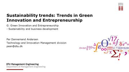 Sustainability trends: Trends in Green Innovation and Entrepreneurship G: Green Innovation and Entrepreneurship - Sustainability and business development.