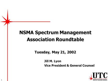 1 NSMA Spectrum Management Association Roundtable Tuesday, May 21, 2002 Jill M. Lyon Vice President & General Counsel.