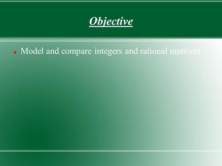 Objective Model and compare integers and rational numbers.