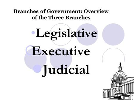 Branches of Government: Overview of the Three Branches Legislative  Executive Judicial.