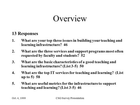 Oct. 4, 1999CSG Survey Presentation Overview 13 Responses 1.What are your top three issues in building your teaching and learning infrastructure? 46 2.What.