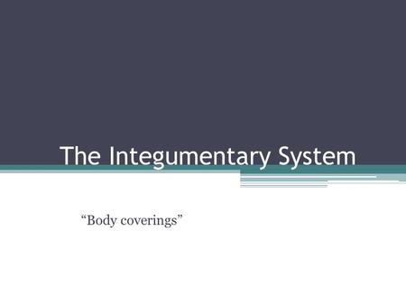 "The Integumentary System ""Body coverings"". Parts of the system 1.Skin 2.Hair 3.Nails."