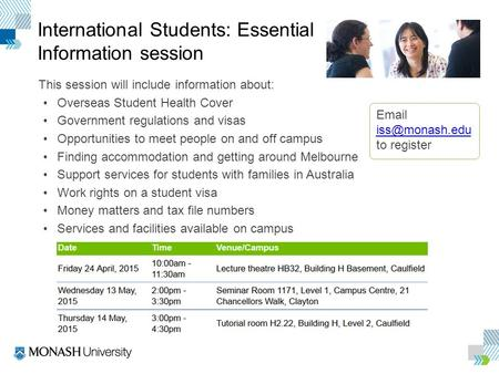 Click to edit Master title style Click to edit Master text styles International Students: Essential Information session This session will include information.