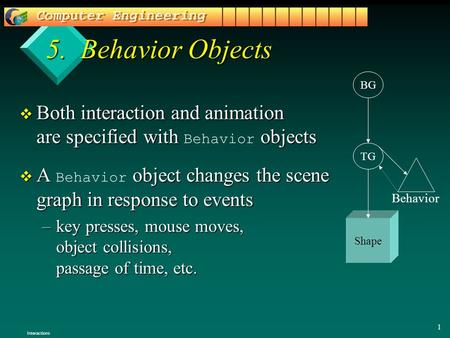 1 5. Behavior Objects  Both interaction and animation are specified with objects  Both interaction and animation are specified with Behavior objects.