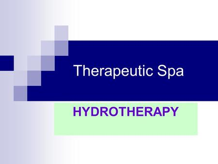 Therapeutic Spa HYDROTHERAPY. Objectives of the Lecture: To familiarize with the concept of spa or therapeutic resorts. To know the main classifications.
